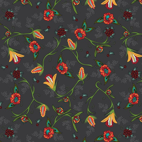 Fall Flowers on Warm Grey