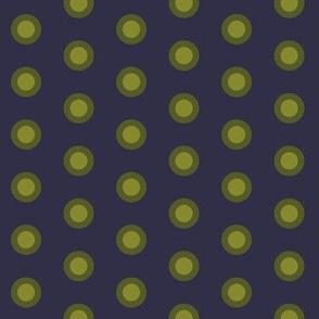 Double polkadot green on blue