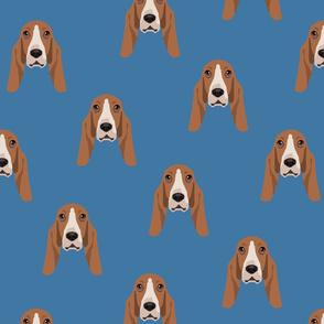 Basset Hound Dog Seamless Pattern - Blue Background