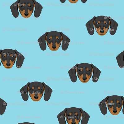 Dachshund Dog Seamless Pattern - Blue Background