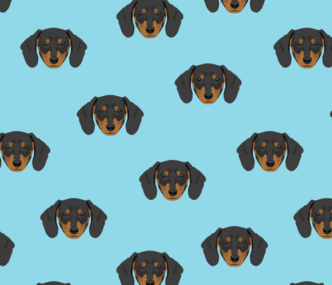 Dachshund Dog Seamless Pattern - Blue Background fabric by designtherapy on Spoonflower - custom fabric