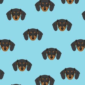 Dachshund Dog Seamless Pattern - Blue Background