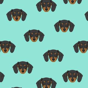 Dachshund Dog Seamless Pattern - Teal Background