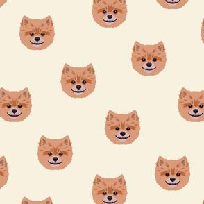 Pomeranian Dog Seamless Pattern - White Background