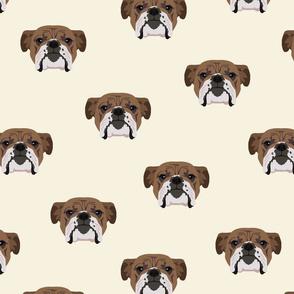 Bulldog Seamless Pattern - White Background