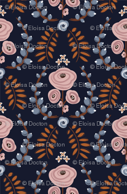 English Garden - Navy Blue