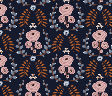 English Garden - Navy Blue fabric by natitys on Spoonflower - custom fabric