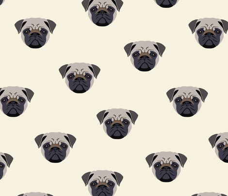 Pug Dog Seamless Pattern - White Background fabric by designtherapy on Spoonflower - custom fabric