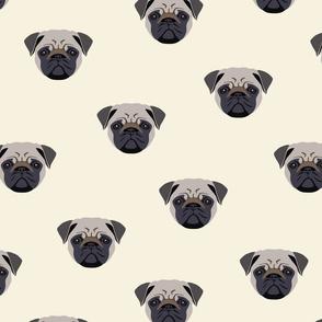 Pug Dog Seamless Pattern - White Background