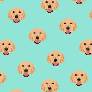 Yellow Labrador Retriever Pattern - Teal Background