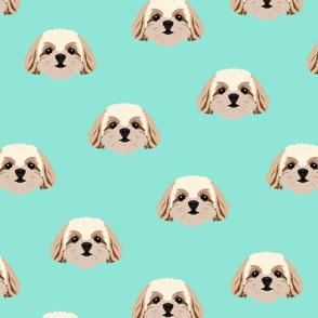 Shih Tzu Dog Pattern - Teal Background