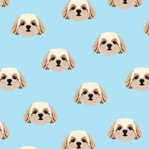 Shih Tzu Dog Pattern - Blue Background