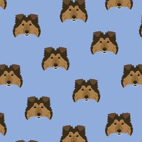 Shetland Sheepdog Pattern - Blue Background