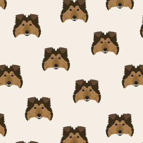 Shetland Sheepdog Pattern - White Background