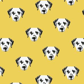 Dalmatian Dog Pattern - Yellow Background