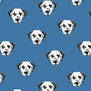 Dalmatian Dog Pattern - Blue Background