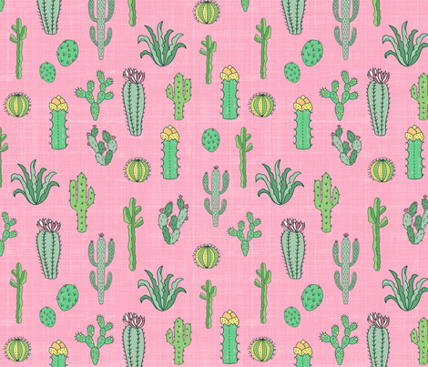 Cactus In Pink fabric by bags29 on Spoonflower - custom fabric