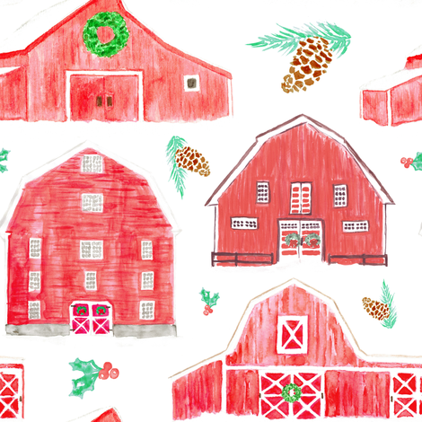 Watercolor Snowy Red Holiday Barns fabric by elliottdesignfactory on Spoonflower - custom fabric