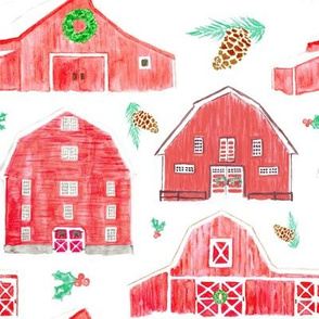 Watercolor Snowy Red Holiday Barns