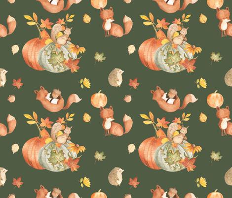 Woodland Creatures fabric by floramoon on Spoonflower - custom fabric