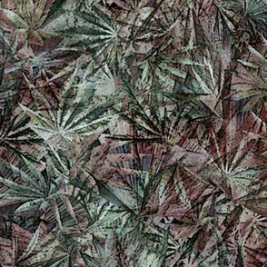 Grunge Cannabis Leaves Green