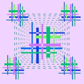 60s optical hashtag squares on lilac