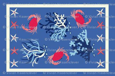 Crabs Tea Towel - blue and coral