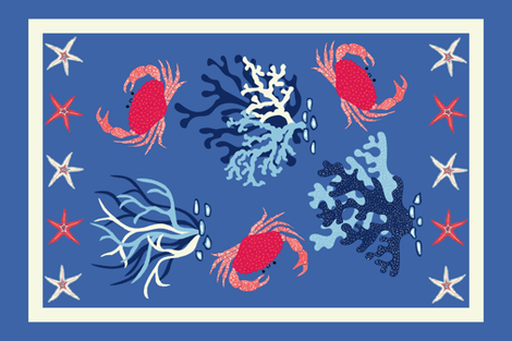Crabs Tea Towel - blue and coral fabric by vivdesign on Spoonflower - custom fabric