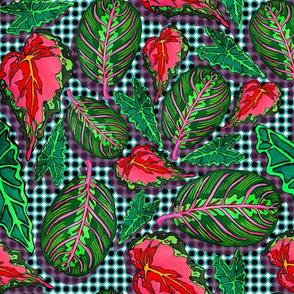 teal polkadot leaves