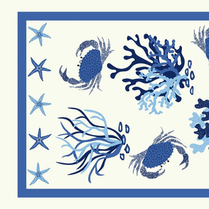 Crabs tea towel - blue and white