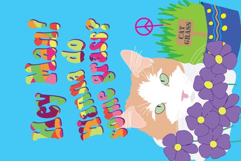 Cat Grass Tea Towel fabric by kittenmoonstudio on Spoonflower - custom fabric