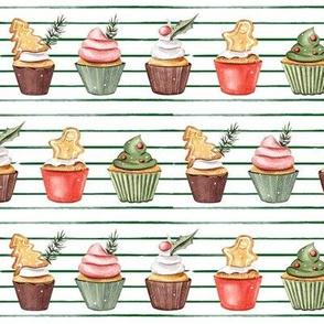 Holiday Cupcakes // Thin Green Stripes
