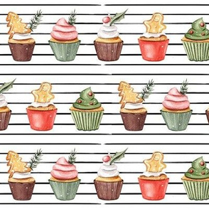 Holiday Cupcakes // Thin Black Stripes