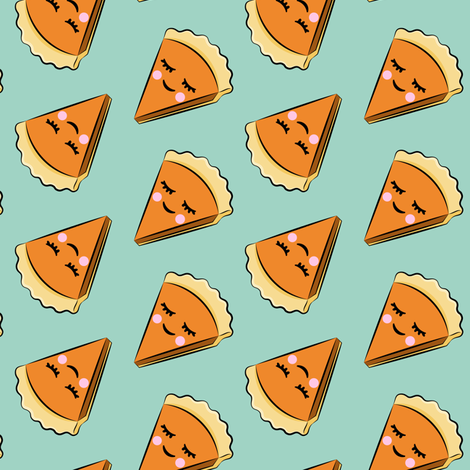 happy pumpkin pie - aqua  C18BS fabric by littlearrowdesign on Spoonflower - custom fabric