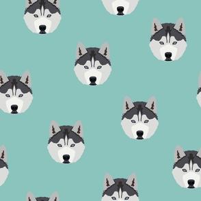 Husky Dog Pattern - Green Background