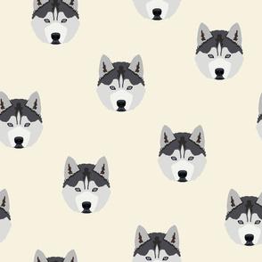 Husky Dog Face Pattern - White Background