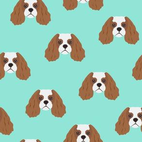 Cavalier King Dog Pattern - Teal Background