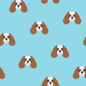 Cavalier King Dog Pattern - Light Blue Background