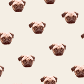Worried Pug Face Dog Pattern - Grey Background
