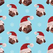 Christmas Pug Face Pattern - Light Blue Background