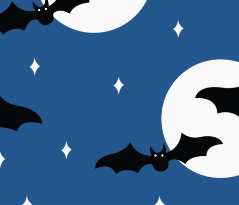 Halloween Bats Flying in the Night Sky fabric by designtherapy on Spoonflower - custom fabric