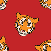 Striped Tiger Faces in Diagonal Pattern