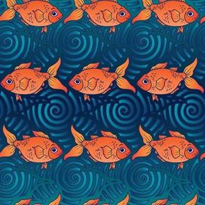 Goldfish on Deep Blue