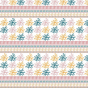 fair isle floral SMALL 517 - saffron blush lagoon
