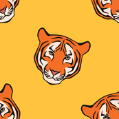 Striped Tiger Faces against Yellow Background