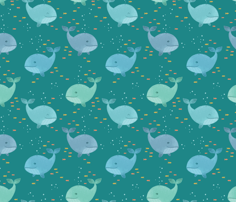 Whale Watching fabric by charladraws on Spoonflower - custom fabric