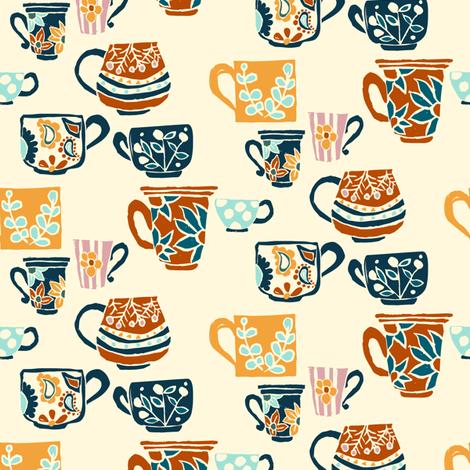 Coffee Mugs fabric by sobonnydesigns on Spoonflower - custom fabric
