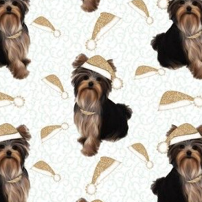 White & Gold Yorkie Christmas 3""