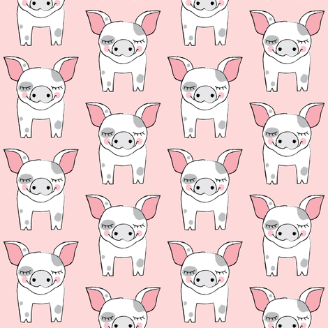 spotted pigs on pink fabric by lilcubby on Spoonflower - custom fabric