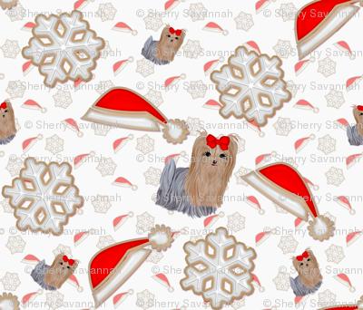 Christmas Cookies - yorkie & snowflake hats